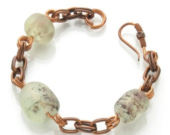 Frosted Lampwork Bracelet with Copper Shavings and Chain