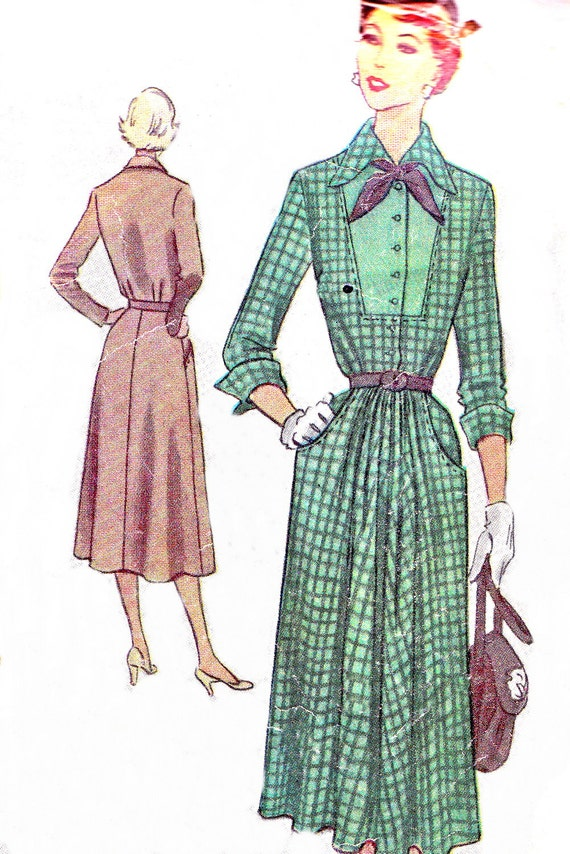 items similar to 1950s dress pattern mccall 8180 pleated