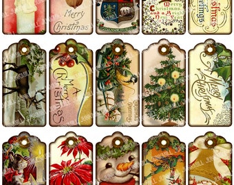 VICTORIAN GIFT TAGS - Digital Printable Collage Sheet - Vintage Holiday Hang Tags, Antique Shabby Chic Christmas, Instant Download