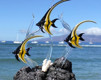 Moorish Idol Angelfish glass sculpture
