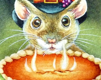 Thanksgiving Pilgrim Mouse & Pumpkin Pie Miniature Art - Limited Edition ACEO Giclee Print reproduced from the Original Watercolor