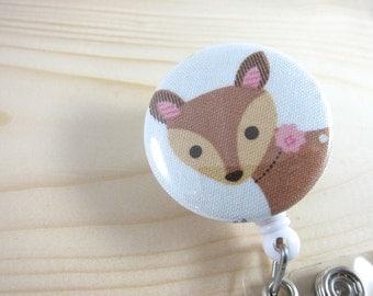Retractable Badge Reel ID Badge Holder (Nurse Teacher Gift) - Fawn