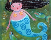 "Original Painting Acrylic Mermaid Tales 30 x30"" Oddimagination"
