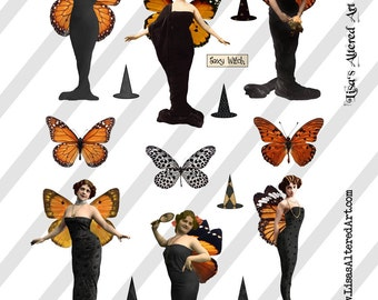Digital Collage Sheet Vintage Halloween Images Lovely Witches (Sheet No.O212) Instant Download