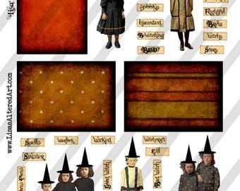 Digital Collage Sheet Vintage Halloween Witch Images (Sheet No.O137) Instant Download