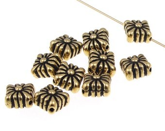 10 Gold Beads TierraCast Spirit Beads - Antique Gold Bali Beads - 9mm x 9mm Metal Beads (P306)