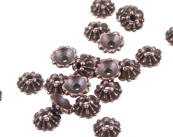 Antique Copper Bead Caps - TierraCast 5mm TIFFANY Copper Beadcaps - Tierra Cast Pewter (PC46)