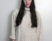 1960s Cream Chunky Knit Fisherman Sweater Size S-M
