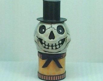 Medium Handmade OOAK Vintage Inspired Halloween Mr. Skeleton Candy Container Lantern Combo