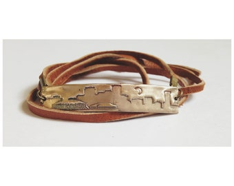 New Orleans skyline wrap bracelet bronze