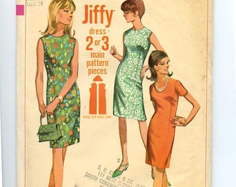 Vintage Simplicity 7010 1960s Jiffy Sewing Pattern Sheath Dress with High Collarless Neckline & Sleeve Choice Easy to Sew  Sz 14 Bust 34