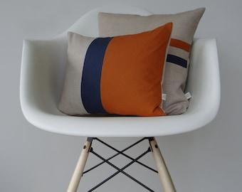 Pumpkin Orange and Navy Color Block Pillow Set - (12x16) and (16x16) by JillianReneDecor | Fall Home Decor | Burnt Orange