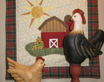 Cloth Doll E-Pattern Rooster Hen & Quilt Display Epattern