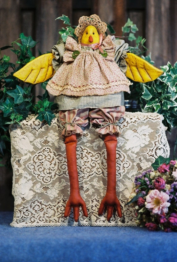 Cloth Doll E-Pattern - 19in Little Country Girl Chicken Bird Doll