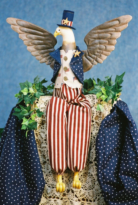 Cloth Doll E-Pattern -22in Uncle Sam American Eagle
