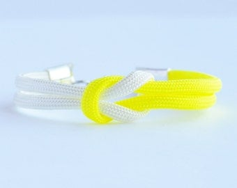 Neon yellow and white forever knot parachute cord rope bracelet