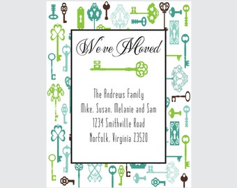 Key Moving Announcement Vintage Key Pattern Moving Announcement (set of 10)