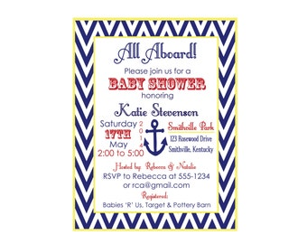 Anchor Baby Shower Invitation, Nautical Invitation, Boy Baby Shower Invitation (set of 10)