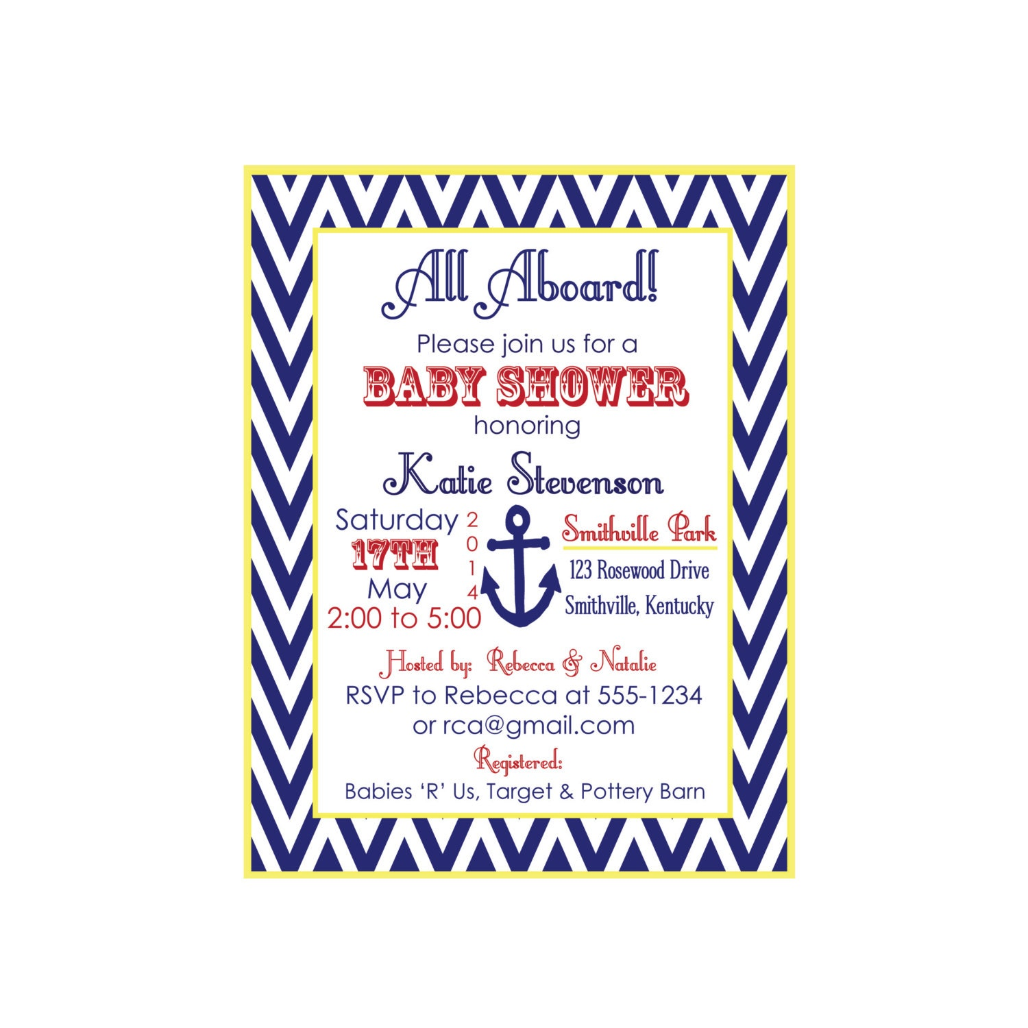 anchor baby shower invitation nautical invitation boy baby