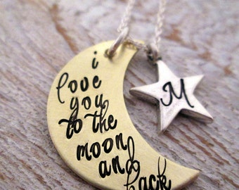 Mothers Necklace - I Love You to the Moon and Back - Initial Necklace