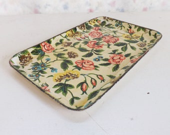 Vintage pink rose blush chintz tole paper mache tray ISCO alcohol proof Japan serving tray 1950s 1960s mid-century modern farmhouse decor
