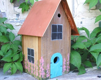 Birdhouse for Wrens with Copper Roof and Hollyhocks