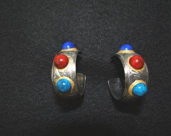 Vintage Silver Jeweled Hoop Earrings