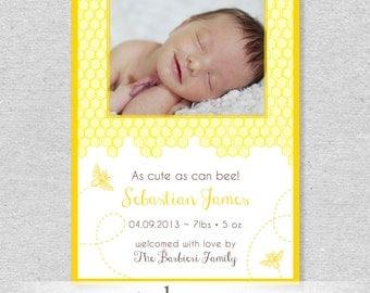 Bumblebee Bee Birth Announcement - DIY Printable File