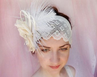 deco style wedding headpiece, Gatsby lace head wrap, cream flower hair accessory, feather hairpiece  -  ROSIE - bridal lace hair accessories