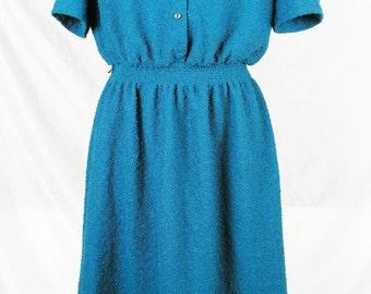 Vintage Turquoise Boucle Dress 60s S M