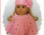 Doll Clothes Made To Fit American Girl, Crochet Poncho Set Flower Hat, LIGHT PINK, Handmade