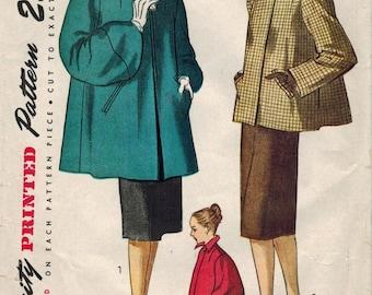 1940s Simplicity 1716 Vintage Sewing Pattern Misses Short Coat, Jacket Size 12 Bust 30