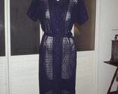 Vintage 50s 60s Plus Size Lace Secretary Dress Rhinestone Button Cocktail Dress Sz 46