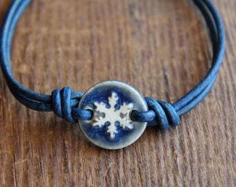 Blue Snowflake Leather Bracelet