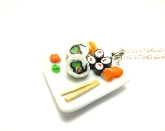 Big California Roll Sushi Necklace, Miniature Food Jewelry, Polymer Clay Food Jewelry