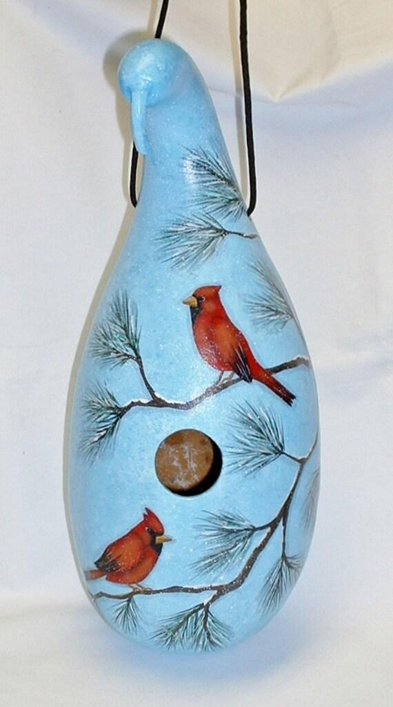 Cardinal Gourd Birdhouse - Hand Painted Gourd