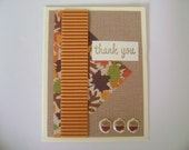Handmade Card - Autumn Fall Leaves Brown Orange Stamped Thank You Card with Acorns - Sammark