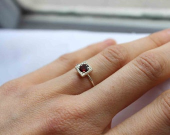 Garnet Ring in Sterling Silver, One Little Stacking ring,Custom Ring, Birthstone Ring, January  birthstone, Personalized birthstone