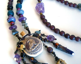 Raven Totem Necklace Pagan Amulet Amethyst Labradorite Charm Talisman Quartz Crystal Purple Recycled Glass RAVEN SPELL by Spinning Castle