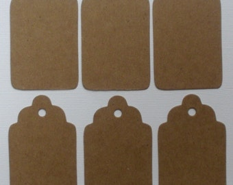 """TAG SALE - 100 Chipboard Die Cuts -  Scallop Hang Tags / Gift Tags / Package Labels  - 100 Tags 2 3/4"""""""