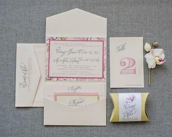 Pink Floral Pocket Wedding Invitation Suite | Vivienne & Miles