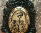 Unique Memento Mori Skeleton Necklace in glass and Baroque resin 40x30 Halloween