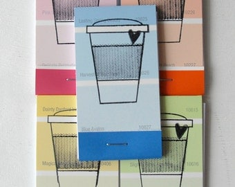 PAINT CHIP MATCHBOOK notepads Set of 5- Coffee Cup in brights
