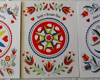 Set of 3 Pennsylvania Dutch Hex Sign Greeting Cards & NO Envelopes