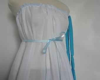 Womens Modern Pillowcase Dress Eco Fashion. Bright Blue. Beach Dress. Ocean. Upcycled Dress. Summer Dress. Tube Dress.Beach Dress.