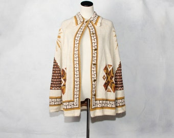 VTG 70's Mayan Geometric Cape (Small / Medium / Large) Mesoamerican Knit Poncho Capelet Pyramids Suns