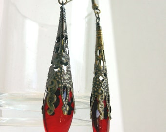 Neo Victorian Earrings Antiqued Brass and red dangle Steampunk Earring Red glass drops metal Filigree earrings- The Czarina's elegant affair