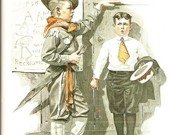 Norman Rockwell - Not Tall Enough - Vintage Art Print - Rockwell Book Plate, Book Print - Saturday Evening Post Cover - 1917