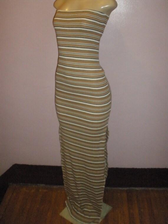Long Halter Top Striped Summer Dress, Long Maxi Beach Sundress, Swimsuit Cover Up Size Medium/Large