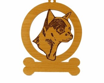 Chihuahua Head Ornament (Smooth) 082112 Personalized With Your Dog's Name